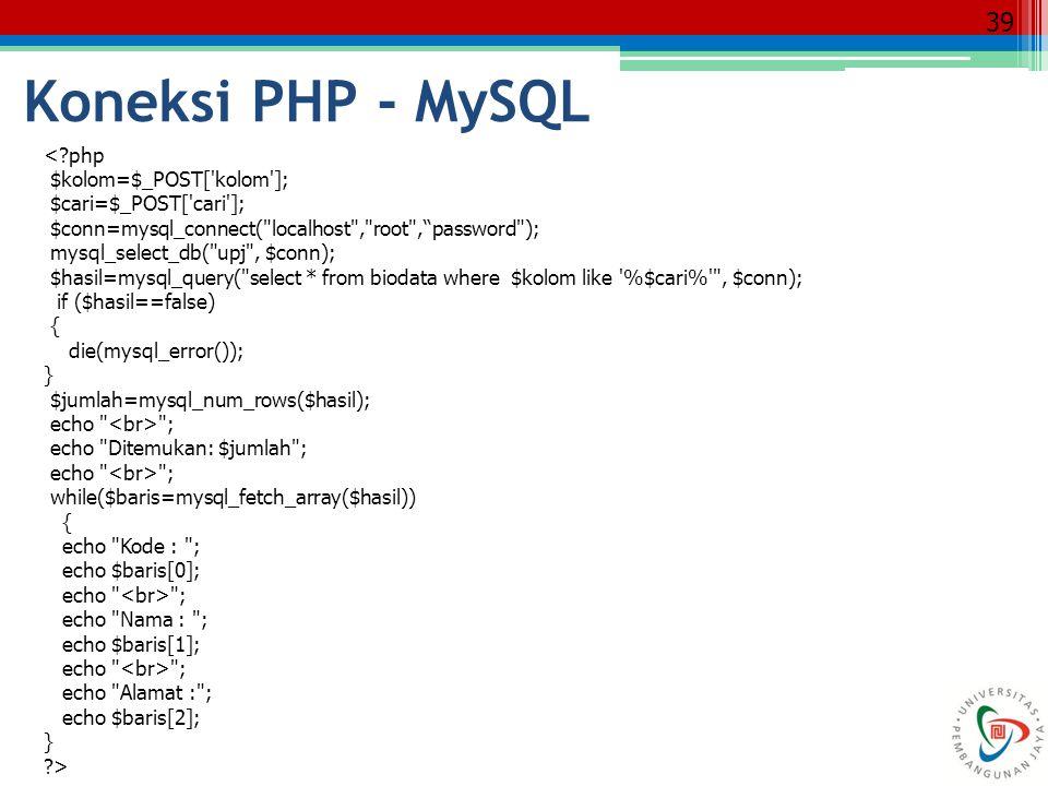 Koneksi PHP - MySQL < php $kolom=$_POST[ kolom ];